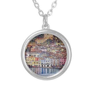 Gustav Klimt - Malcesine at Lake Garda Round Pendant Necklace