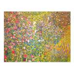 Gustav Klimt Pink Flowers Postcard