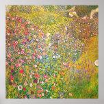 Gustav Klimt Pink Flowers Poster