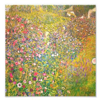 Gustav Klimt Pink Flowers Print