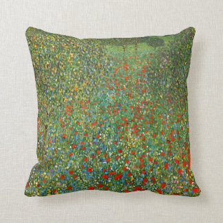 Gustav Klimt Poppy Field Throw Cushions