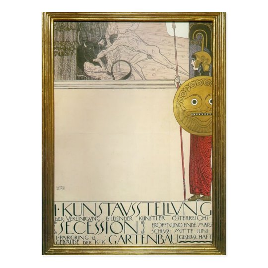 Gustav Klimt: Poster for the First Art Exhibition Postcard