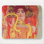 Gustav Klimt Red Woman Gold Snake Painting Mouse Pad