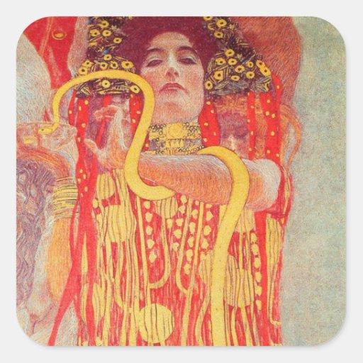 Gustav Klimt Red Woman Gold Snake Painting Stickers