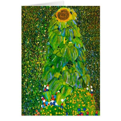 Gustav Klimt Sunflower Greeting Card