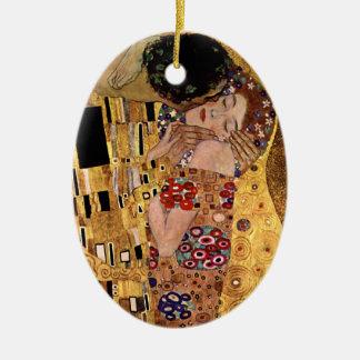 Gustav Klimt: The Kiss (Detail) Ceramic Oval Decoration