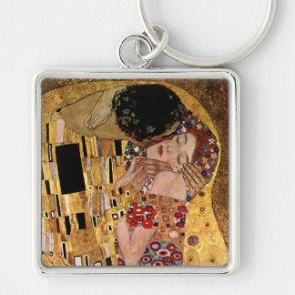 Gustav Klimt: The Kiss (Detail) Silver-Colored Square Key Ring