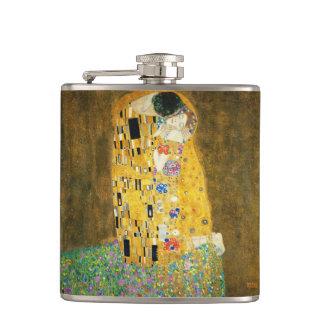 Gustav Klimt The Kiss Vintage Art Nouveau Painting Hip Flask