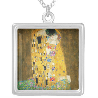 Gustav Klimt The Kiss Vintage Art Nouveau Painting Square Pendant Necklace