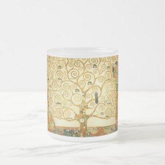 Gustav Klimt The Tree Of Life Vintage Art Nouveau Frosted Glass Mug