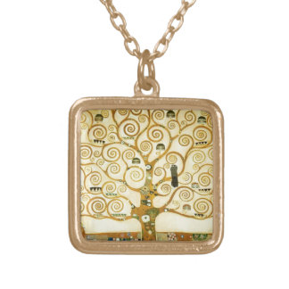 Gustav Klimt The Tree Of Life Vintage Art Nouveau Gold Plated Necklace