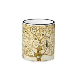 Gustav Klimt The Tree Of Life Vintage Art Nouveau Ringer Mug