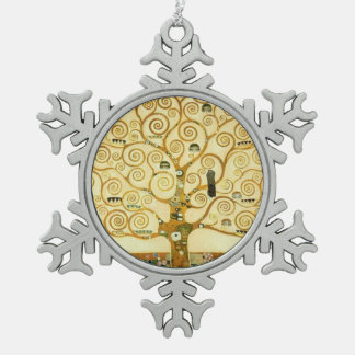 Gustav Klimt The Tree Of Life Vintage Art Nouveau Pewter Snowflake Decoration