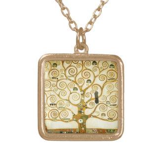 Gustav Klimt The Tree Of Life Vintage Art Nouveau Square Pendant Necklace
