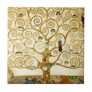Gustav Klimt The Tree Of Life Vintage Art Nouveau Small Square Tile