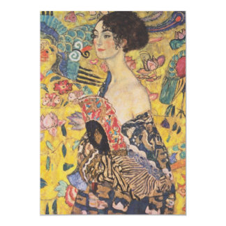 Gustav Klimt - Woman with fan 13 Cm X 18 Cm Invitation Card