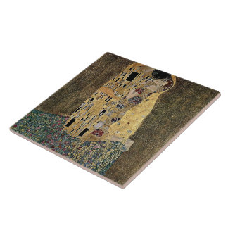 Gustav Klimt's The Kiss (circa 1908) Large Square Tile