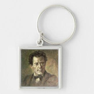 Gustav Mahler Silver-Colored Square Key Ring