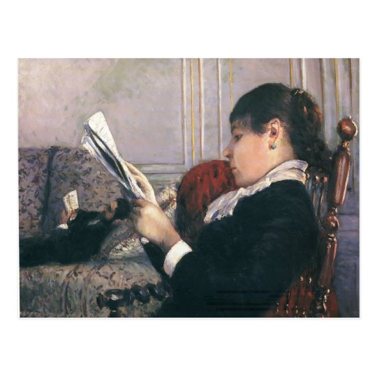 Gustave Caillebotte- Interior, Woman Reading Postcard
