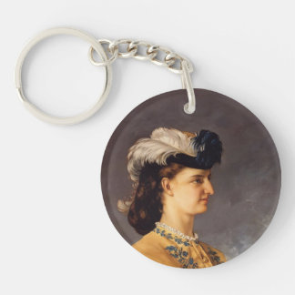 Gustave Courbet- Portrait of Countess Therese Single-Sided Round Acrylic Key Ring