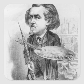 Gustave Dore 1832-83 caricature from Le Boulev Square Sticker