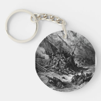 Gustave Dore: Battle of Lepanto in 1571 Single-Sided Round Acrylic Key Ring
