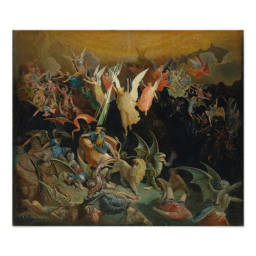 Gustave Dore Colour Engraving Rebel Angels Poster