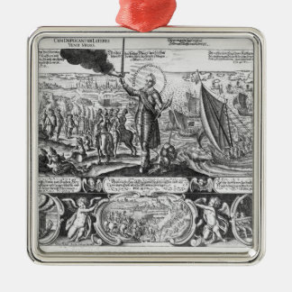Gustavus Adolphus landing at Stralsund in 1630 Silver-Colored Square Decoration