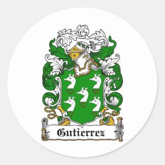 GUTIERREZ FAMILY CREST -  GUTIERREZ COAT OF ARMS ROUND STICKERS
