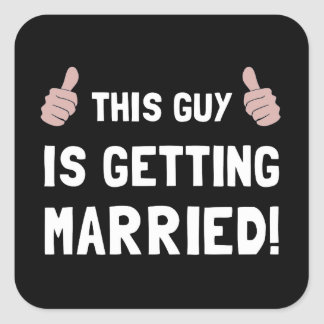 Guy Getting Married Square Sticker