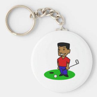 Guy Golfer Basic Round Button Key Ring