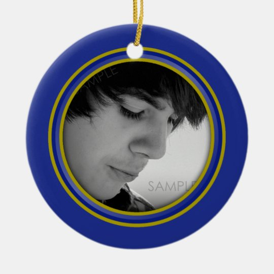 Guy Grad Blue and Gold Personalised Photo Ornament