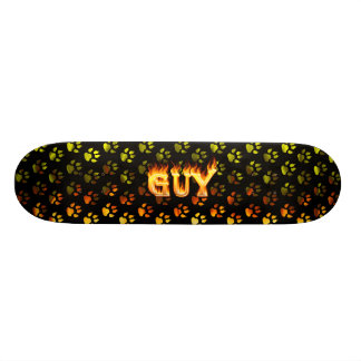 Guy skateboard fire and flames design.