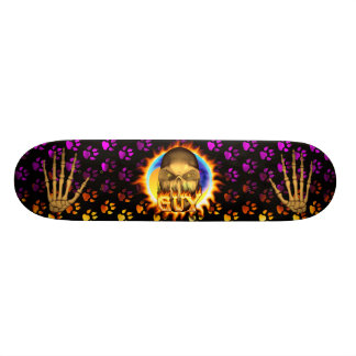 Guy skull real fire and flames skateboard design