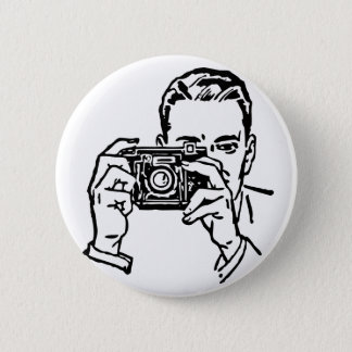 Guy with Camera Button. 6 Cm Round Badge