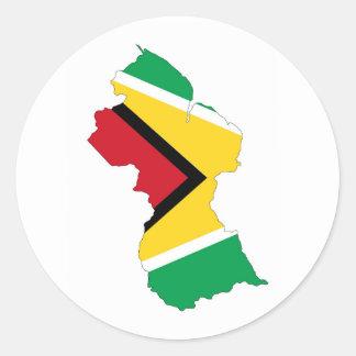 guyana country flag map shape symbol classic round sticker