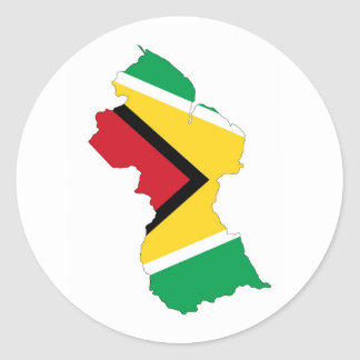 guyana country flag map shape symbol round sticker