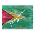 Guyana distressed flag postcard