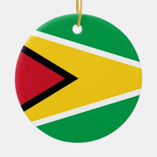 Guyana Flag Double-Sided Ceramic Round Christmas Ornament