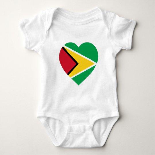 Guyana Flag Heart Baby Bodysuit