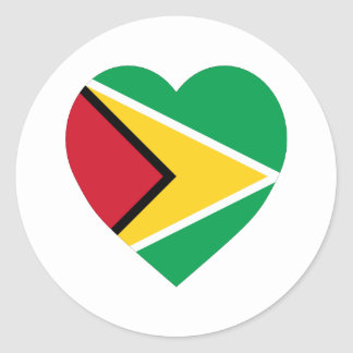 Guyana Flag Heart Classic Round Sticker