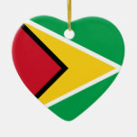 Guyana Flag Heart Ornaments