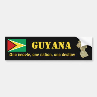 Guyana Flag + Map Bumper Sticker