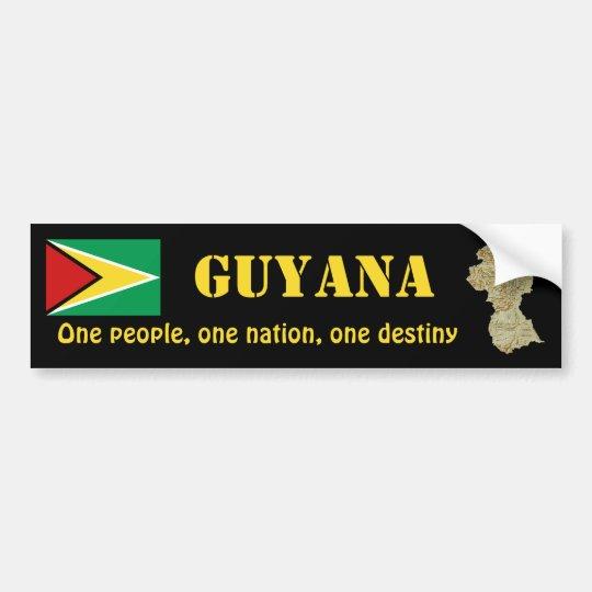 Guyana Flag + Map Bumper Sticker