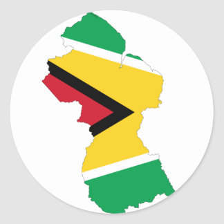 Guyana Flag Map GY Classic Round Sticker
