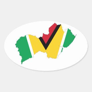 Guyana Flag Map GY Oval Sticker