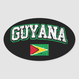 Guyana Flag Oval Sticker