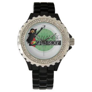 Guyana Girl Black Rhinestone eWatch Wrist Watch