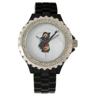 Guyana Girl Black Rhinestone eWatch Wrist Watches