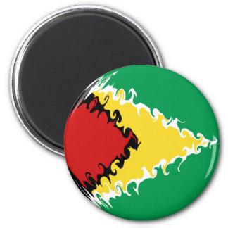 Guyana Gnarly Flag 6 Cm Round Magnet